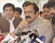 لاہور: صوبائی وزیر قانون رانا ثناء اللہ خاں پنجاب اسمبلی کے احاطہ میں ..