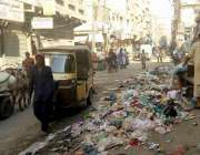 حیدر آباد: مصروف ترین شاہراہ سخی پیر روڈ پر حبیب سینٹر کے سامنے کچرے ..