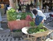 کوئٹہ: سبزی مارکیٹ میں ایک شخص اپنی دکان میں سلاد سجانے میں مصروف ہے۔