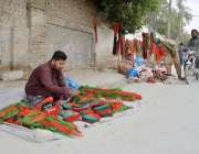 کوئٹہ: ایوب اسٹیڈیم میں پاکستان تحریک انصاف کے جلسے کے لیے روڈ کنارے ..