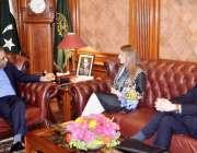 کراچی: گورنر سندھ محمد زبیر گورنر ہاؤس مں ی برطانیہ کی ڈپٹی ہائی کمشنر ..