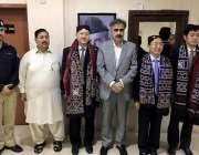 کراچی: صوبائی وزیر برائے داخلہ و زراعت سہیل انور خان سیال کے ہمراہ قونصل ..