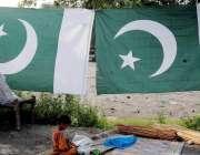 راولپنڈی: 14اگست کے حوالے سے ایک محنت کش نے روڈ کنارے قومی پرچم سجا رکھے ..