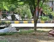 فیصل آباد: شہری سڑک کنارے لگے درختوں کے سائے تلے آرام کر رہے ہیں۔