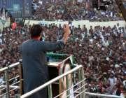 لیہ: چیئرمین پاکستان تحریک انصاف عمران خان عوامی جلسہ سے خطاب کر رہے ..