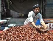 لاہور: ایک ریڑھی بان فروخت کے لیے کھجوریں سجا رہا ہے۔