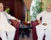 پشاور: گورنر خیبر پختونخوا انجینئر اقبال ظفر جھگڑا سے چیف ایگزیکٹو ..