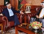 کراچی: گورنر سندھ محمد زبیر سے قطر کے قونصل جنرل مشال ایم الاانصاری ..