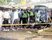 لاہور: فیروز پور روڈ پر دھماکے کے بعد قانون نافظ کرنیوالے اداروں کے ..