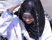 حیدر آباد: اصغریہ سٹوڈنٹس کے زیر اہتمام ریلی کے موقع پر واٹر شو میں ..