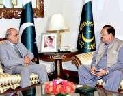 اسلام آباد: صدر مملکت ممنون حسین سے سے گورنر پنجاب ملک محمد رفیق رجوانہ ..
