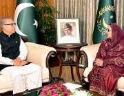اسلام آباد: صدر مملکت ڈاکٹر عارف علووی سے وفاقی وزیر دفاعی پیداور زبیدہ ..
