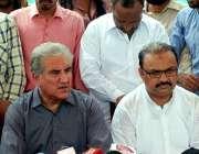 ملتان: رہنما پاکستان تحریک انصاف امیدوار برائےNA-156شاہ محمد قریش پریس ..