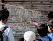 اسلام آباد: طلبہ سکول کے باہر سائیکل بان سے مچھلی خرید رہے ہیں۔