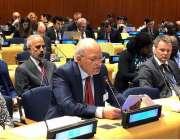 نیویارک: وفاقی وزیر برائے ماحولیاتی تبدیلی سینیٹر مشاہد اللہ خان یونائیٹڈ ..