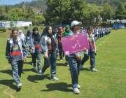پشاور: انڈر23گیمز ہزارہ ریجن میں خواتین مقابلوں میں شریک کھلاڑی سلامی ..