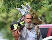 اسلام آباد: وفاقی دارالحکومت میں ایک محنت کش پھیری لگا کر جھاڑو فروخت ..