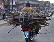 سرگودھا: موٹر سائیکل سوار خشک لکڑیاں لادھے اپنے منزل کی جانب رواں ہے۔