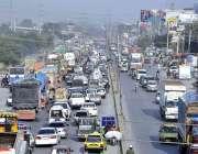 راولپنڈی: آئی جے پی روڈ پر ٹریفک جام کا منظر۔
