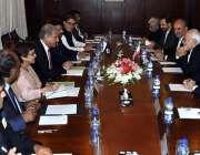 اسلام آباد: وزیر خارجہ مخدوم شاہ محمود حسین قریشی سے جواد ظریف کی قیادت ..