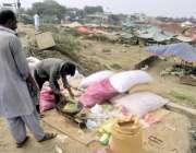 لاہور: مویشی منڈی میں ایک شخص قربانی کے جانور کے لیے چارہ خرید رہا ہے۔