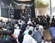 ملتان: نویں محرم الحرام کے موقع پر ذاکر اعجاز حسین عزاداروں سے خطاب ..