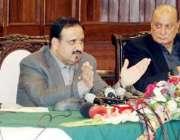 لاہور: وزیر اعلیٰ پنجاب سردار عثمان بزدارپریس کانفرنس کررہے ہیں۔