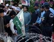 اسلام آباد: تحریک جوانان پاکستان کے کارکنان اپنے مطالبات کے حق میں ..