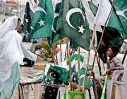 راولپنڈی: جشن آزادی کے سلسلے میں ایک معمر خاتون پرچم خرید رہی ہیں۔