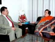 اسلام آباد: وفاقی وزیر برائے انسانی حقوق ڈاکٹر شیریں مزاری سے وائس ..