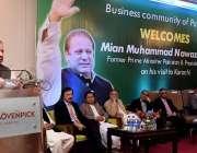 کراچی: مسلم لیگ ن کے صدر میاں نواز شریف تاجر برادری سے خطاب کر رہے ہیں۔