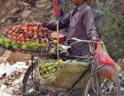راولپنڈی: محنت کش سائیکل پر تازہ پھل رکھے گاہکوں کا منتظر ہے۔