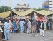 لاہور: لیڈی ہیلتھ ورکرز پنجاب اسمبلی کے سامنے لگائے گئے احتجاجی کیمپ ..