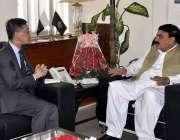 اسلام آباد: وزیر ریلوے شیخ رشید احمد سے چینی سفیر ژاؤ جنگ ملاقات کر ..