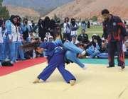 پشاور: انڈر23خیبر پختونخوا گیمز کو ہاٹ ریجن میں خواتین جوڈو مہارت کا ..