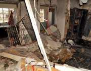راولپنڈی: گیس لیکج کے باعث بوائز ہوسٹل کی متاثرہ عمارت کے اندرونی حصے ..