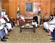 اسلام آباد: صدر مملکت ڈاکٹر عارف علوی سے قطر کا وفد ملاقات کررہا ہے۔