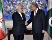 اسلام آباد: وزیر خارجہ مخدوم شاہ محمود حسین قریشی اور ایرانی وفد کے ..
