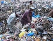 پشاور: خانہ بدوش افراد کچرے کے ڈھیر سے کار آمد اشیاء تلاش کر رہے ہیں۔