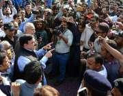لاہور: وفاقی وزیر ریلوے شیخ رشید احمد ریلویز ہیڈ کوارٹر کے باہر احتجاج ..