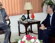 اسلام آباد: وفاقی وزیر دفاع لیفٹیننٹ جنرل (ر) نعیم خالد سے چینی سفیر ..