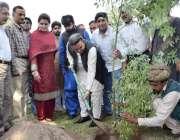 لاہور: چیئرمین پی ایچ اے انجینئر یاسر گیلانی جیلانی پارک میں پودا لگا ..