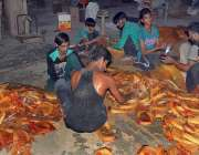 حیدر آباد: محنت کش فروخت کے لیے سویاں پیک کررہے ہیں۔