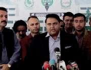 اسلام آباد: وفاقی وزیر اطلاعات و نشریات فواد چودھری پارلیمنٹ کے باہر ..