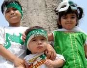 راولپنڈی: جشن یوم آزادی کے سلسلے میں بچوں نے کپڑے پہن رکھے ہیں۔