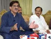 حیدر آباد: سابق وزیر اعلیٰ سندھ سید مراد علی شاہ پریس کانفرنس سے خطاب ..