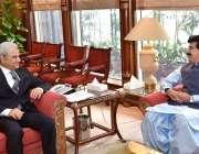 اسلام آباد: چیئرمین سینیٹ آف پاکستان صادق سنجرانی اور نگران وزیراعظم ..