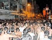 راولپنڈی: نیا محلہ سے برآمد ہونیوالے محرم الحرام کے مرکزی جلوس میں ..