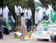اسلام آباد: سگنل فری ایکسپریس وے کنارے سٹال فروش جشن آزادی کا سامان ..