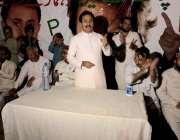کراچی: پاکستان تحریک انصاف کے رہنما حلیم عادل شیخ کراچی کے حلقہ242میں ..